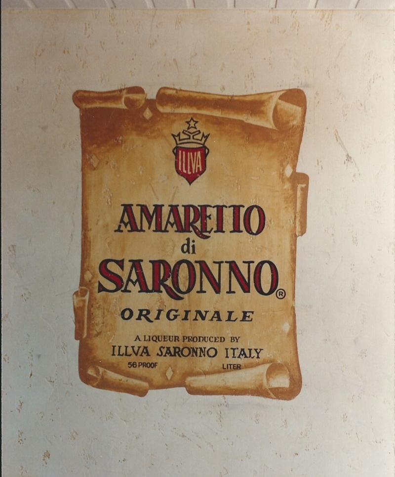 Hand painted Amaretto label