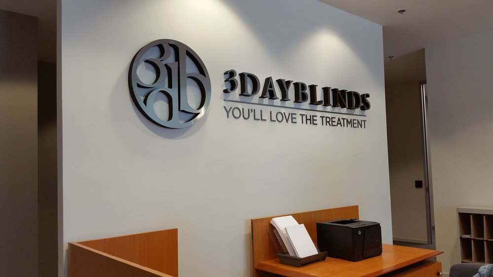 3 Day Blinds corporate reception dimensional logo