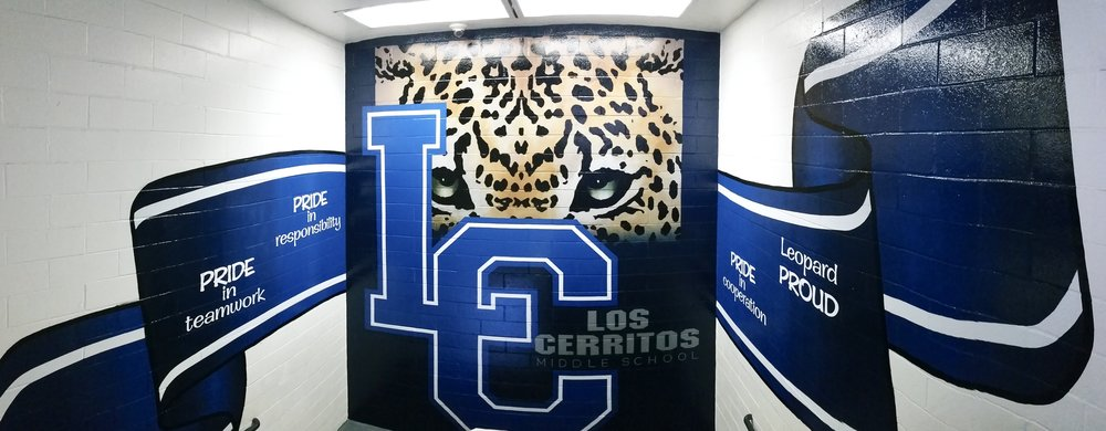 Los Cerritos Middle School hand painted mural - stair 2