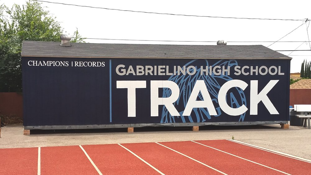 Gabrielino High School Track hand painted school sports mural