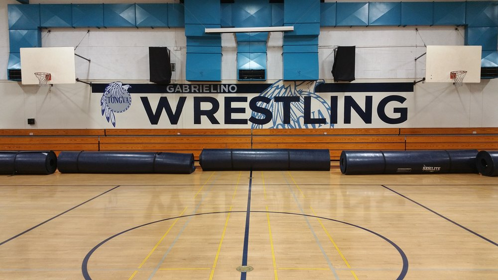 Gabrielino High School Wrestling hand painted school sports mural