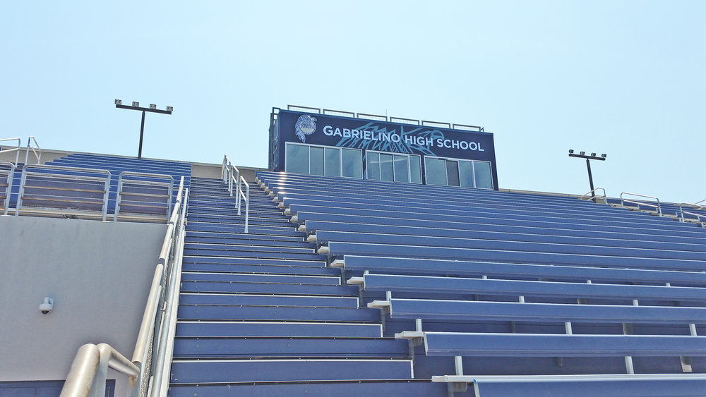 Gabrielino High School stadium hand painted school sports mural