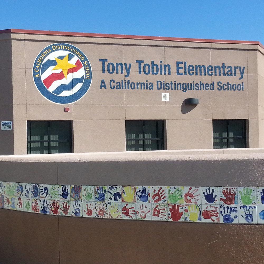 Tony Tobin Elementary hand painted Distinguished School Award sign
