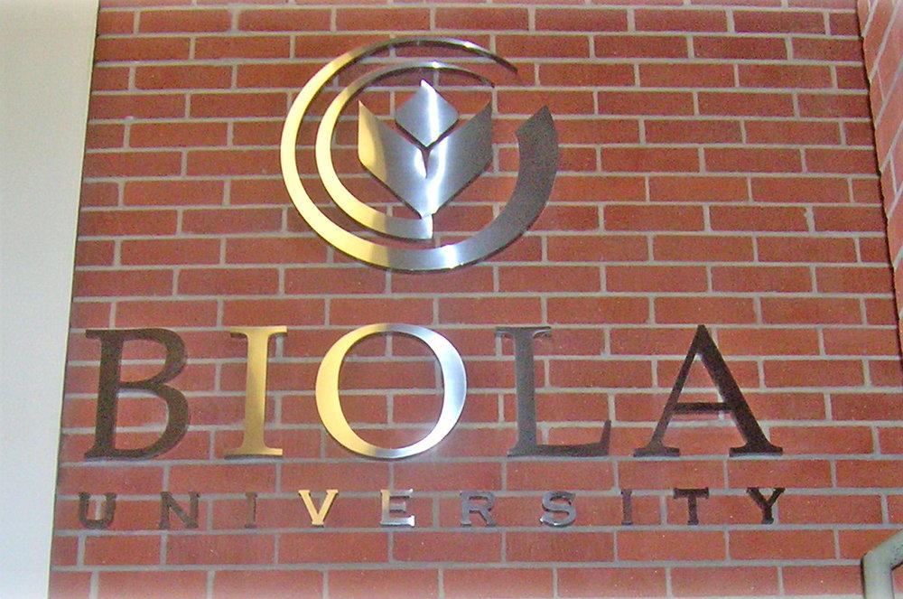 Biola University administration building dimensional logo sign