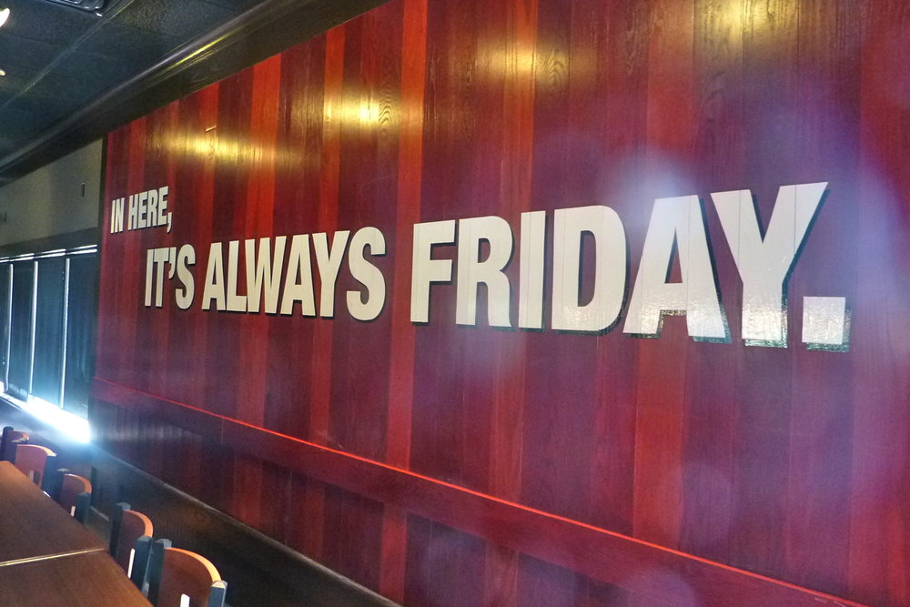 "TGI Fridays hand painted graphics ""promise wall"""
