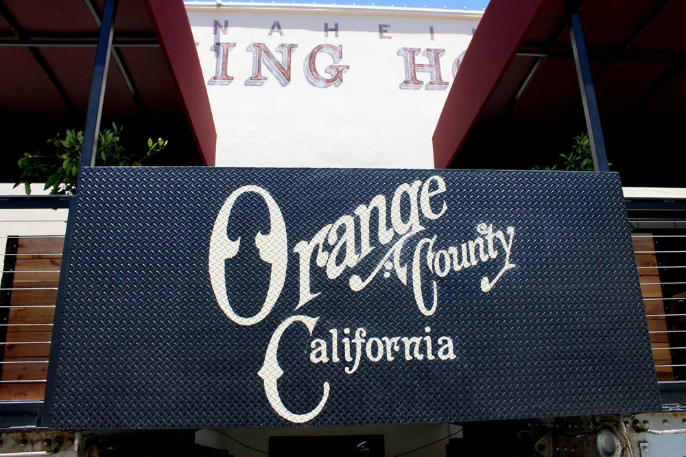 Anaheim Packing House hand lettering on diamond plate steel
