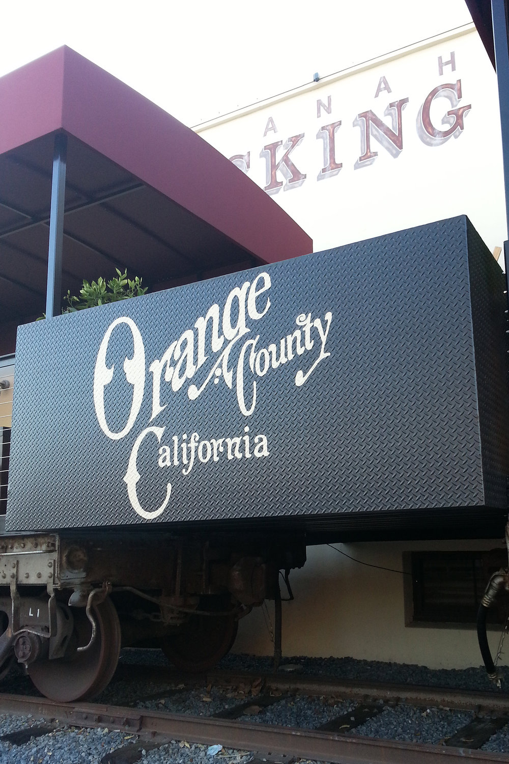Anaheim Packing House sign painting hand lettering on diamond plate steel