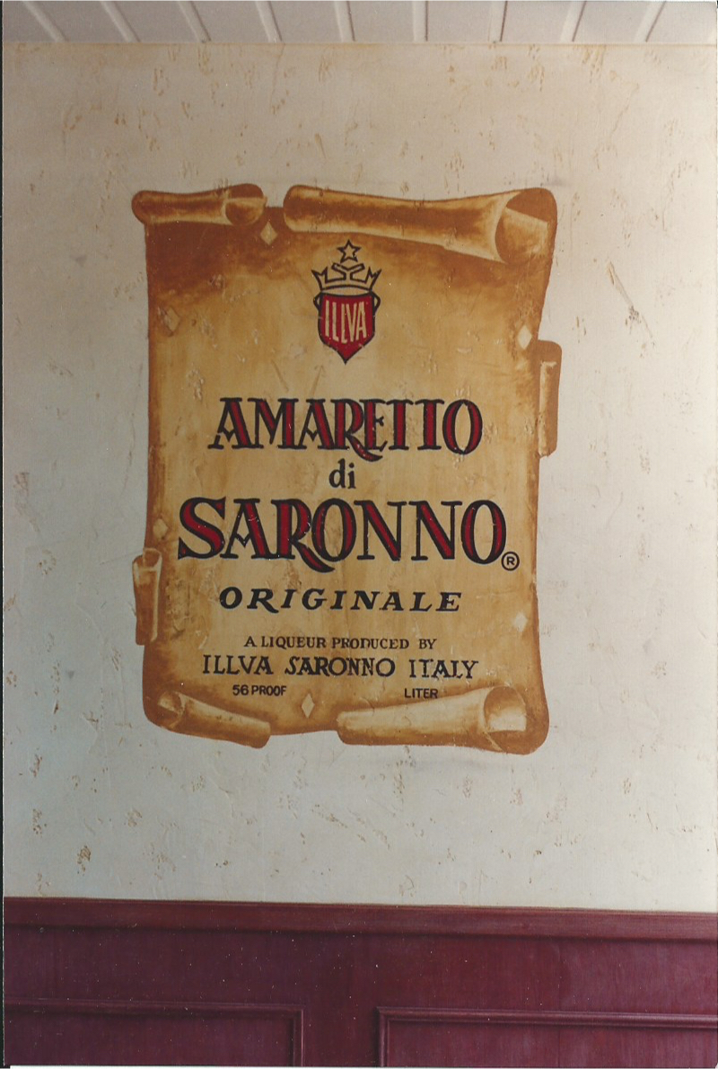 Amaretto hand painted label mural