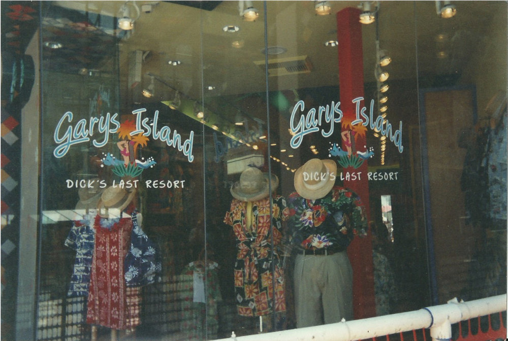 Gary's Island clothing hand lettered window signs