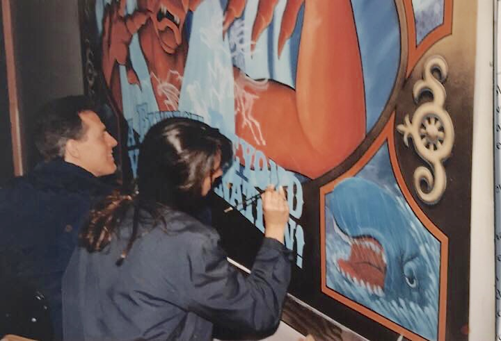 Sign painting - Fantasmic construction fence graphics at Disneyland 1990