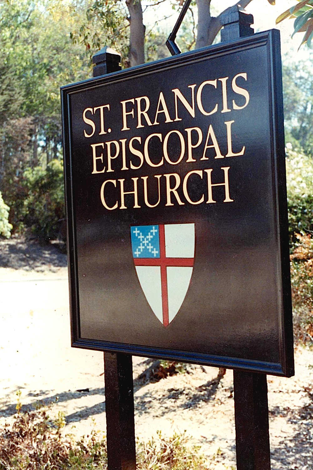 St. Francis Episcopal Church gold leaf lettering on sign panel