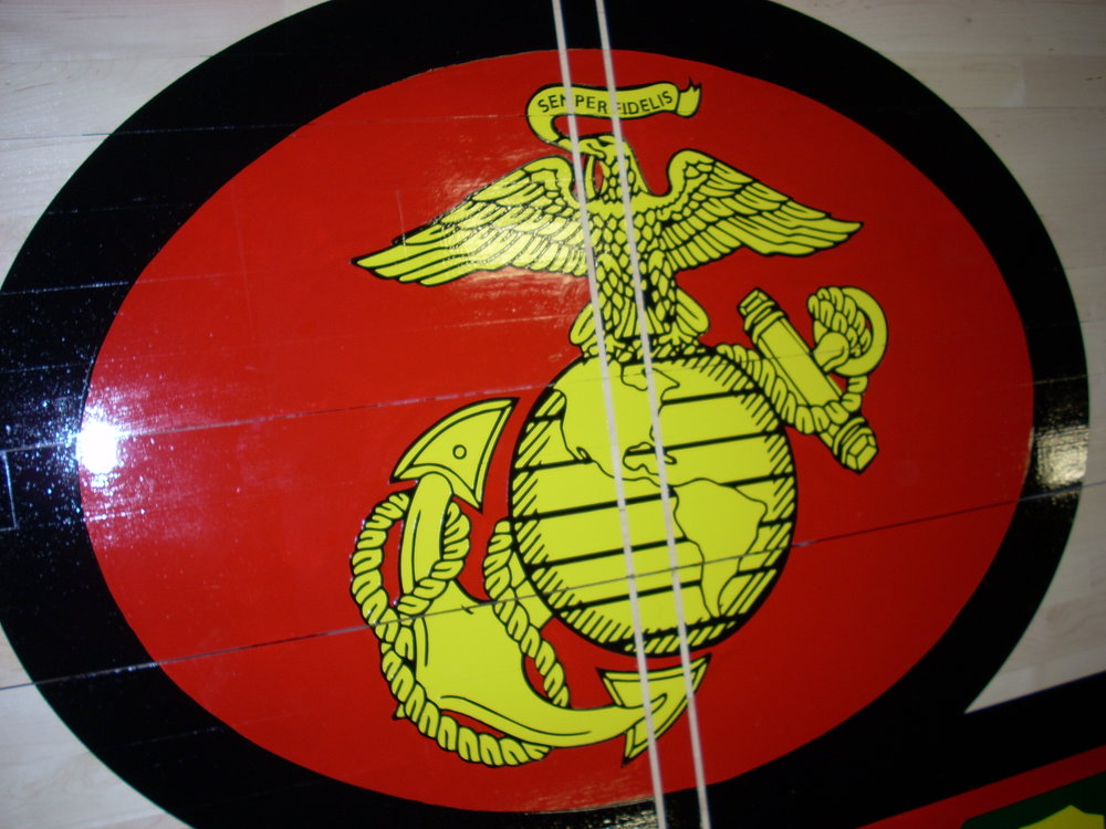 Fifth Marines gym wood floor hand painted graphics detail