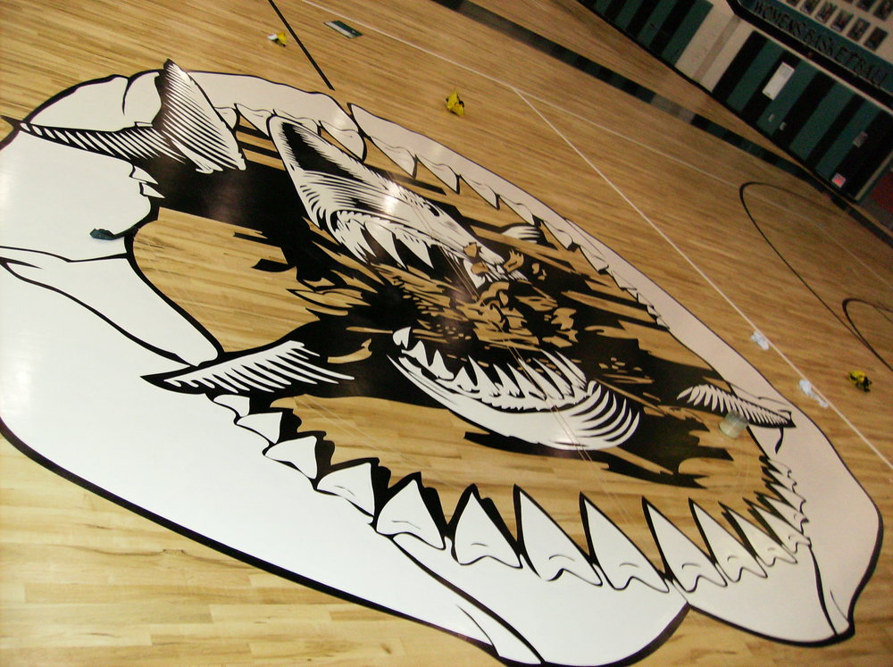 Santiago High School gym wood floor hand painted graphics