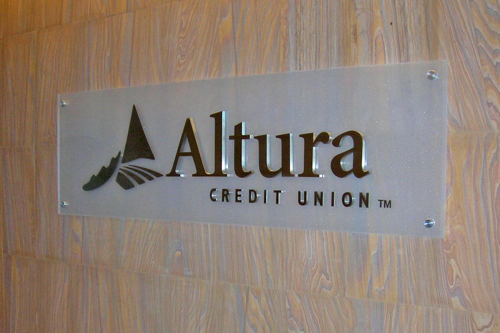 Altura Credit Union corporate reception sign
