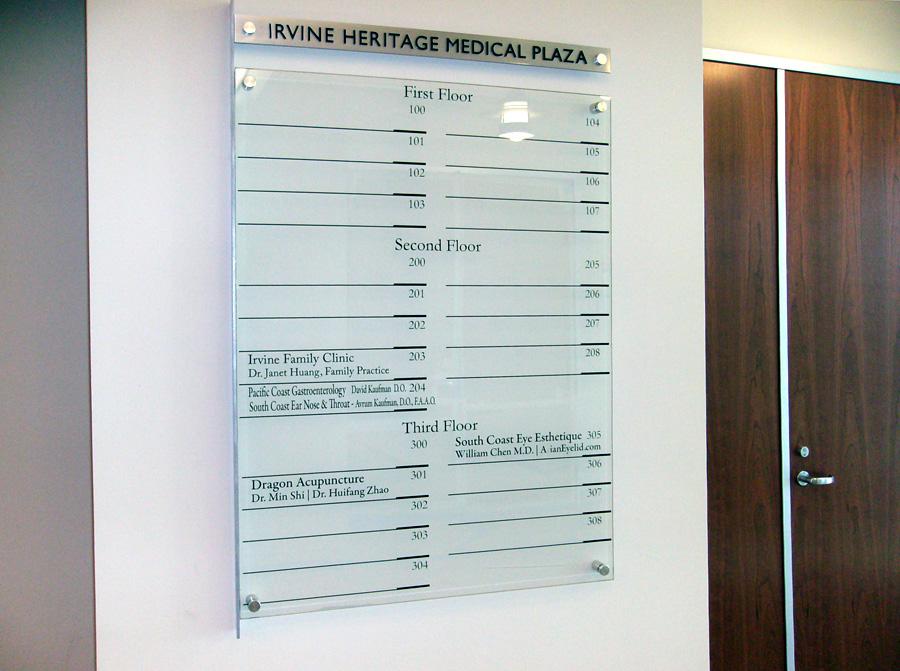 Irvine Heritage Medical Plaza lobby directory