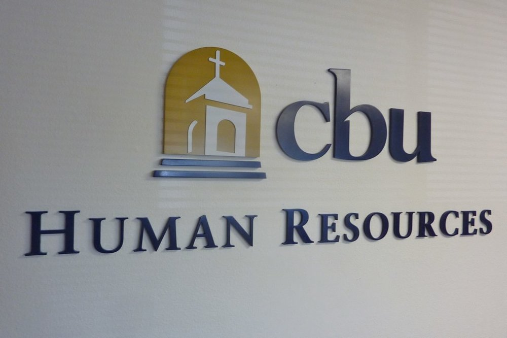 California Baptist University Human Resources dimensional office sign