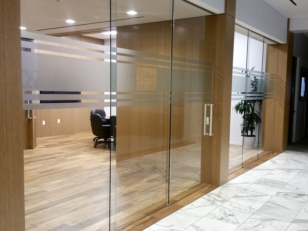 Colliers International office privacy-safety etch vinyl