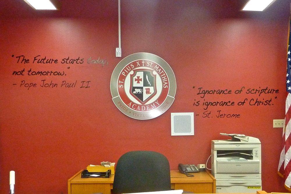 Pius Matthias Academy library dimensional logo & vinyl graphics display