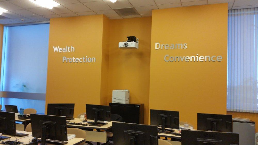 Altura Credit Union training center dimensional letters