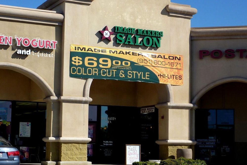 Custom digitally printed salon advertising banner