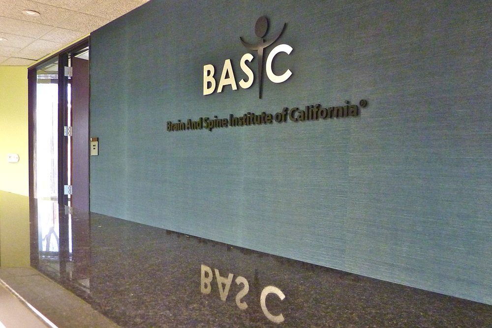 Brain and Spine Institute reception lobby dimensional logo