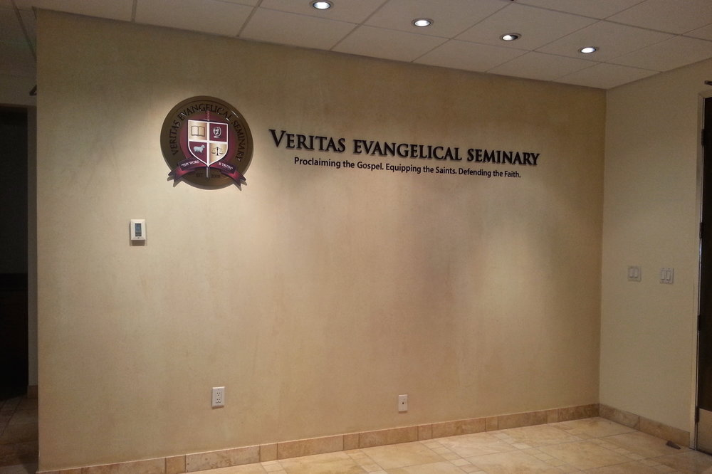 Veritas Evangelical Seminary office reception dimensional letters and logo