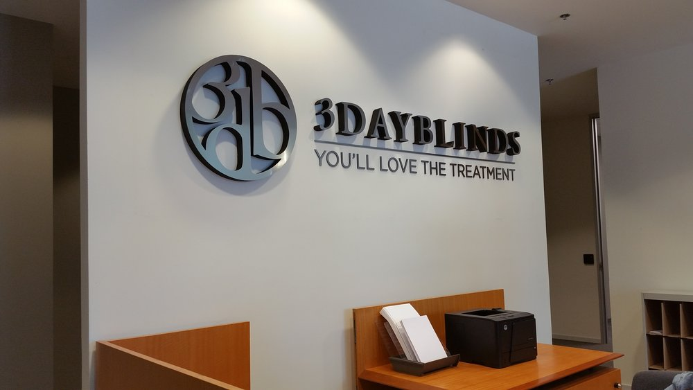 3 Day Blinds reception lobby dimensional letters and logo