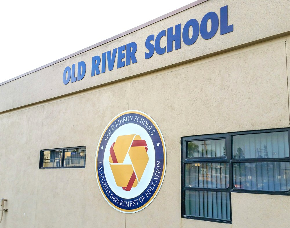 Old River School building wall sign letters