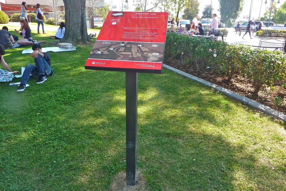 Biola University prayer walk display panel