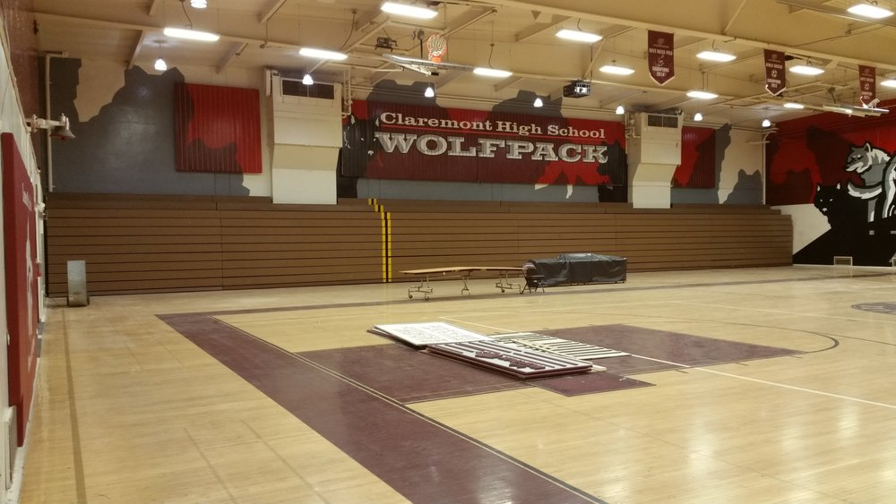 CLAREMONT WOLFPACK HAND PAINTED SCHOOL GYM MURAL - SOUTH WALL