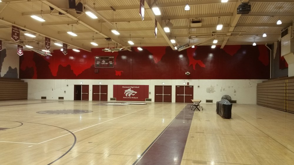 CLAREMONT WOLFPACK HAND PAINTED SCHOOL GYM MURAL - EAST WALL