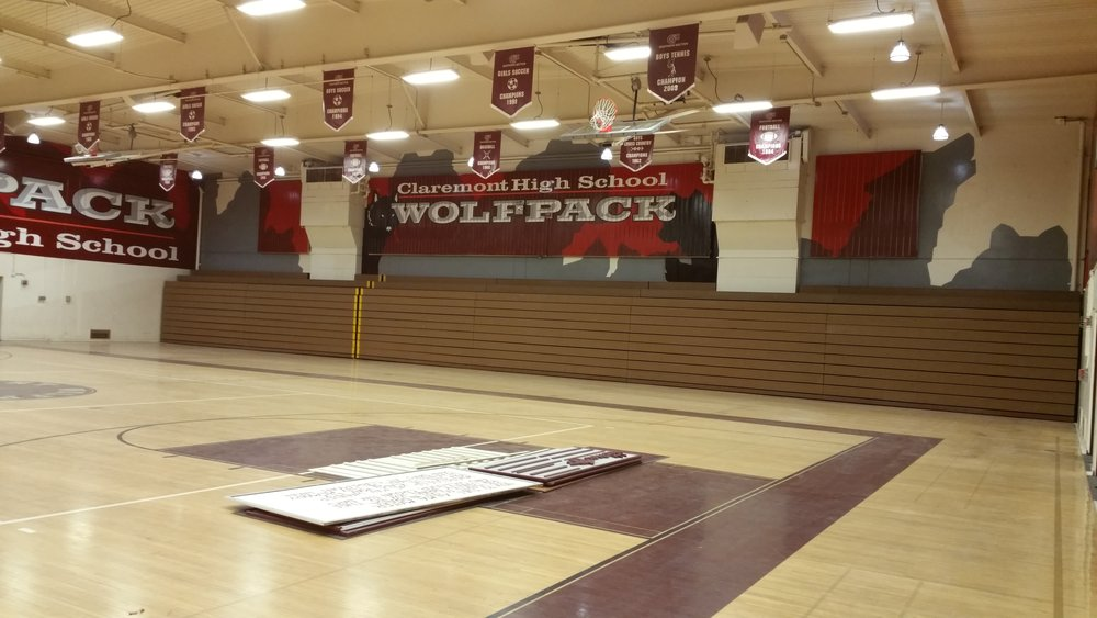 CLAREMONT WOLFPACK HAND PAINTED SCHOOL GYM MURAL - NORTH WALL
