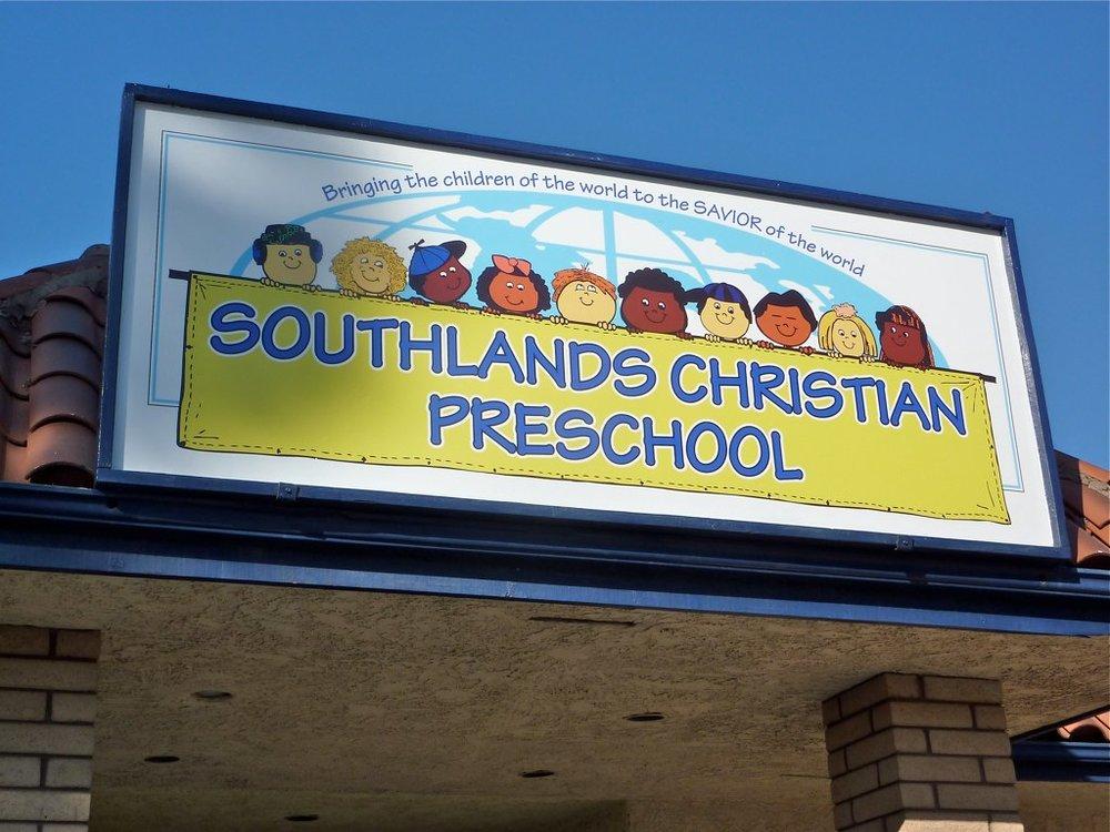 Southlands Christian Preschool building sign