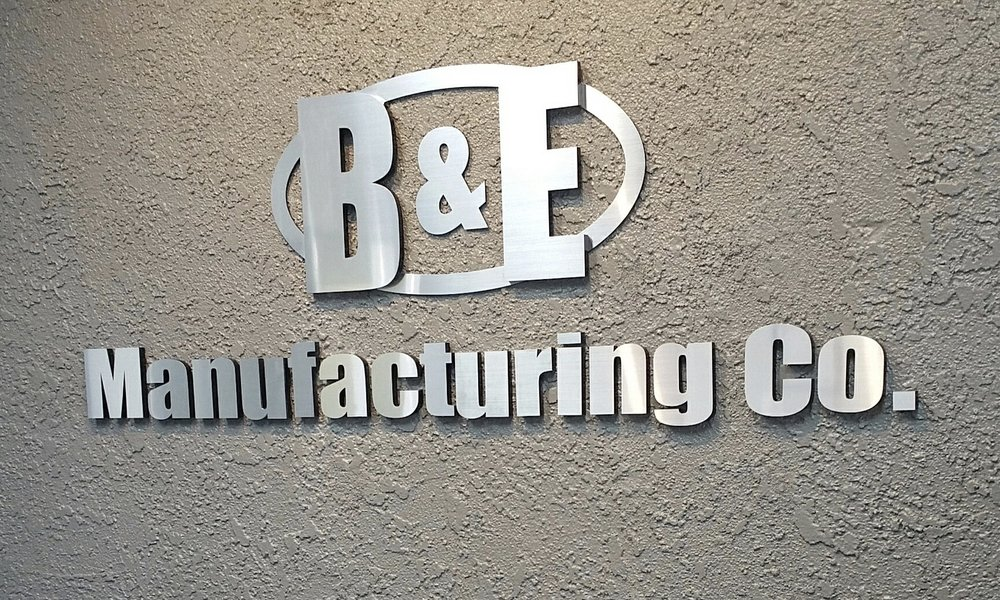 B&E Manufacturing lobby dimensional letters & logo