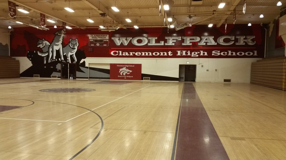 The Claremont High School Wolfpack — hand painted mascot mural on all four interior sides of the gym