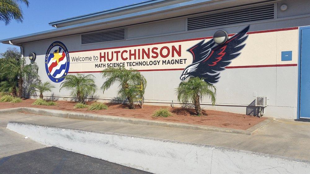 Hutchinson School - California Distinguished School mural, hand painted mascot mural