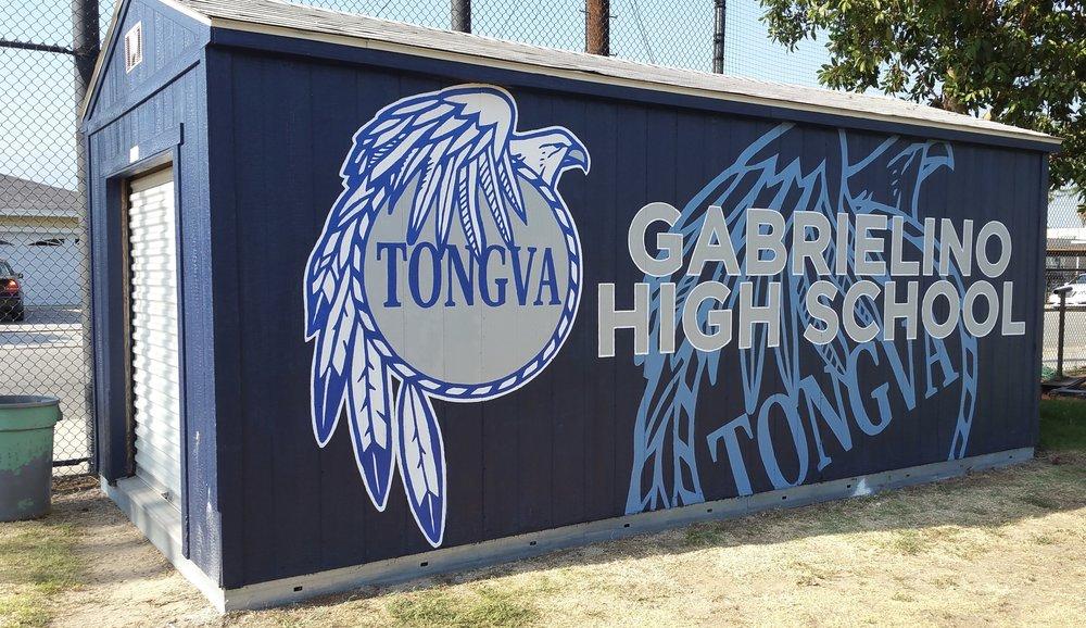 Gabrielino High School hand painted school spirit mural