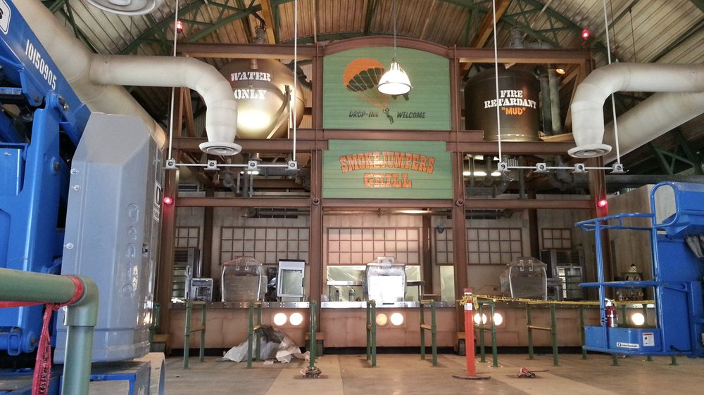 Smokejumpers Grill, California Adventure, Anaheim CA - interior hand painted graphics completed