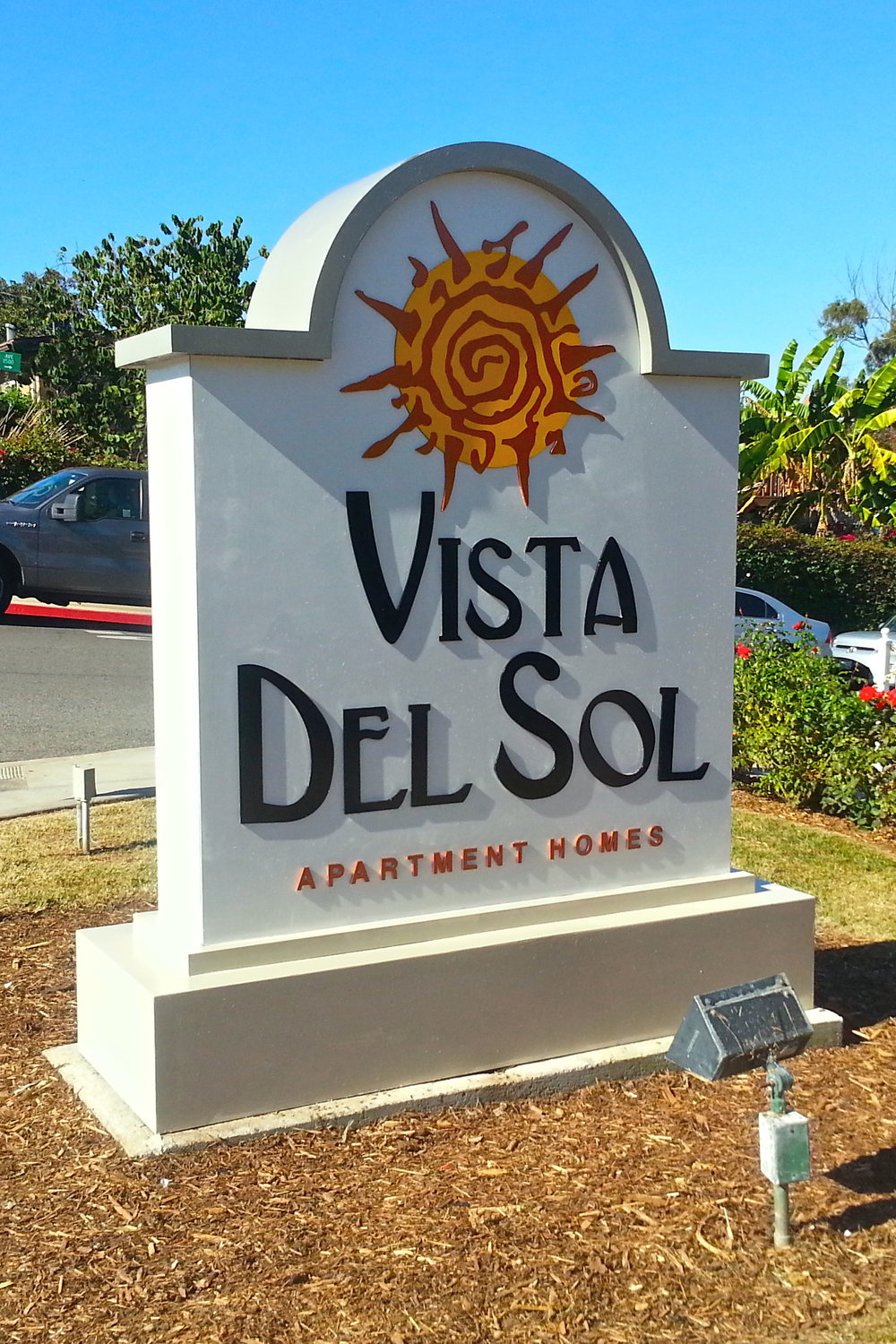 Vista del Sol is in National City, in the San Diego area. It's another monument sign refurbishing project — this time a two-sided sign, for double the fun! (Or work, whichever…) But seriously, all the work pays off when I can turn over to my client a like-new looking monument sign for a fraction of the price of a new one. Again, letters and logo were removed, sanded and painted, the cabinet was also sanded and repainted.