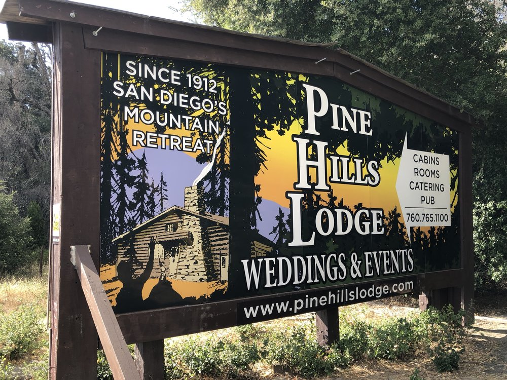 Pine Hills billboard monument sign — refurbished two-sided billboard in Julian, near San Diego.   How-to article about the sign at this link.
