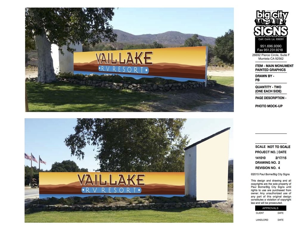 Vail RV Resort hand painted monument mockup drawing