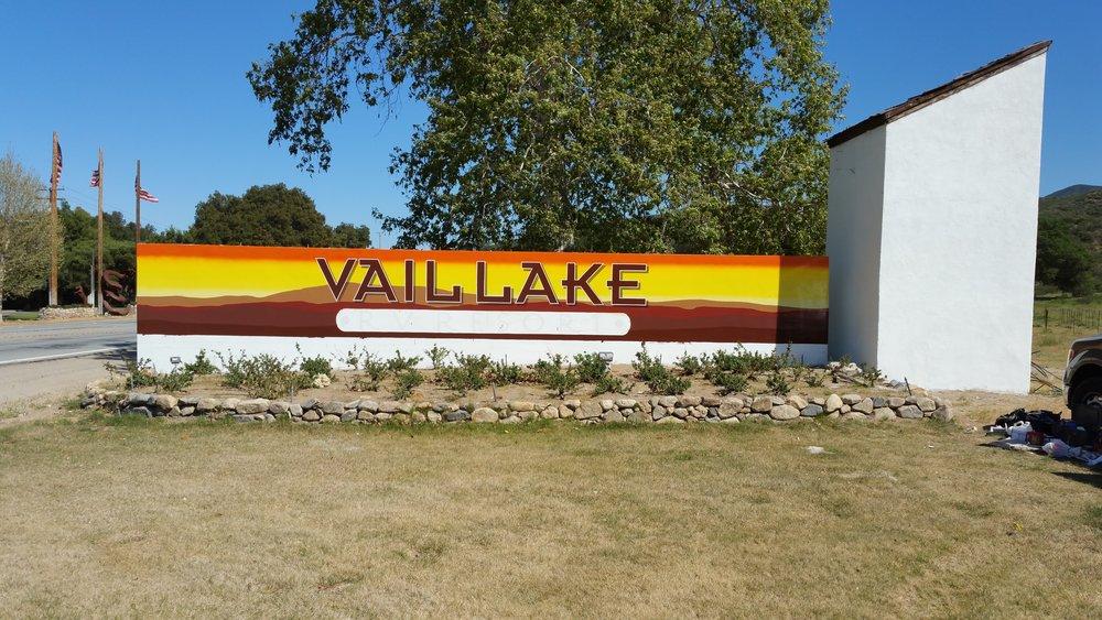 Vail Lake RV handprinted monument sign progress photo