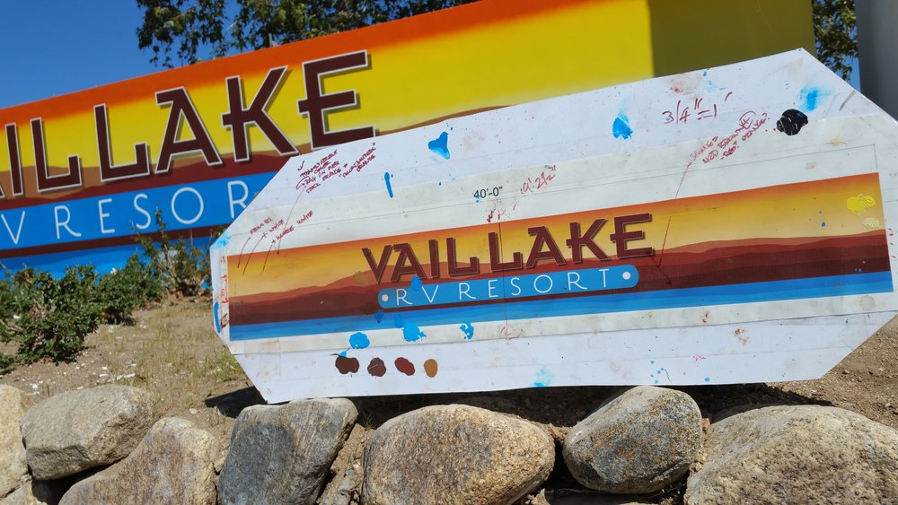 Vail Lake RV hand painted monument drawing & completed project