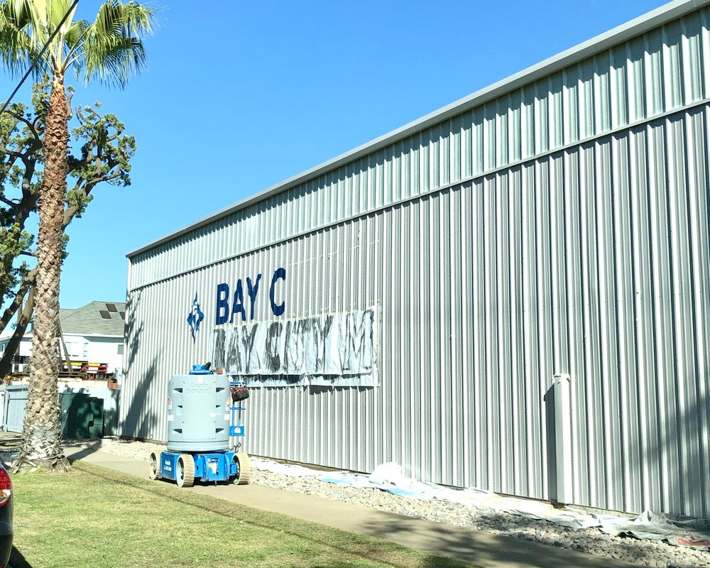 Bay City Marine hand painted sign painting National City in San Diego area progress photo
