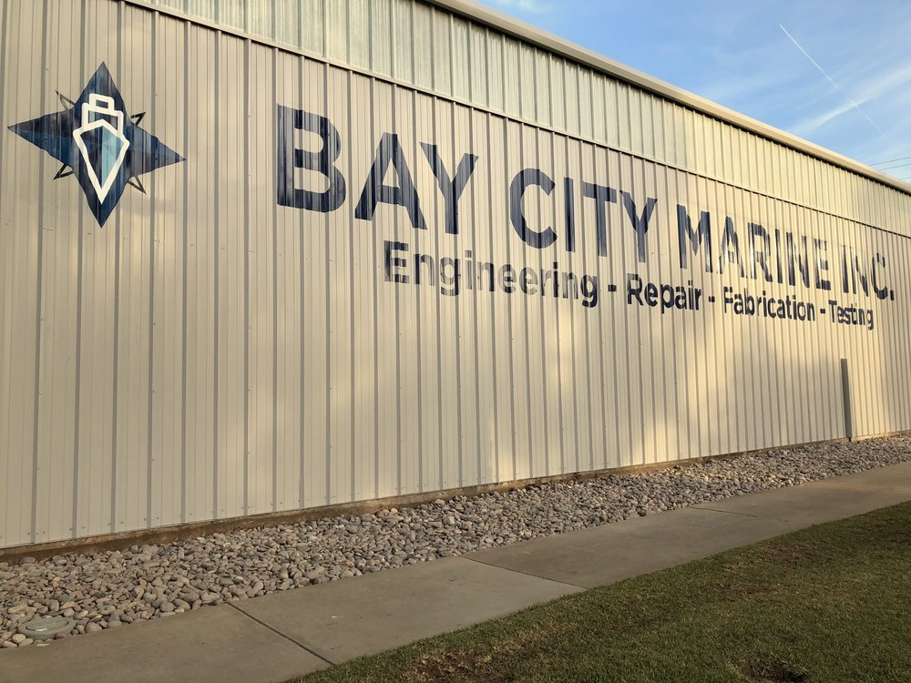 Bay City Marine hand painted sign painting National City in San Diego area completion photo