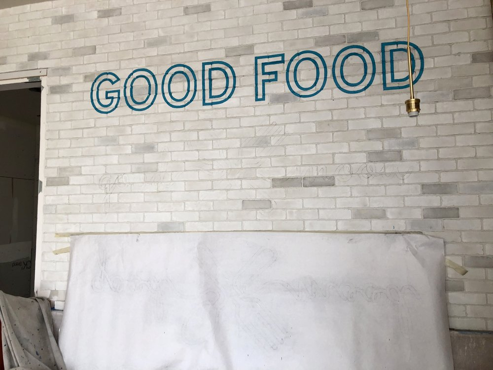 hand painted restaurant branding - brick wall graphic lettering in San Diego progress photo