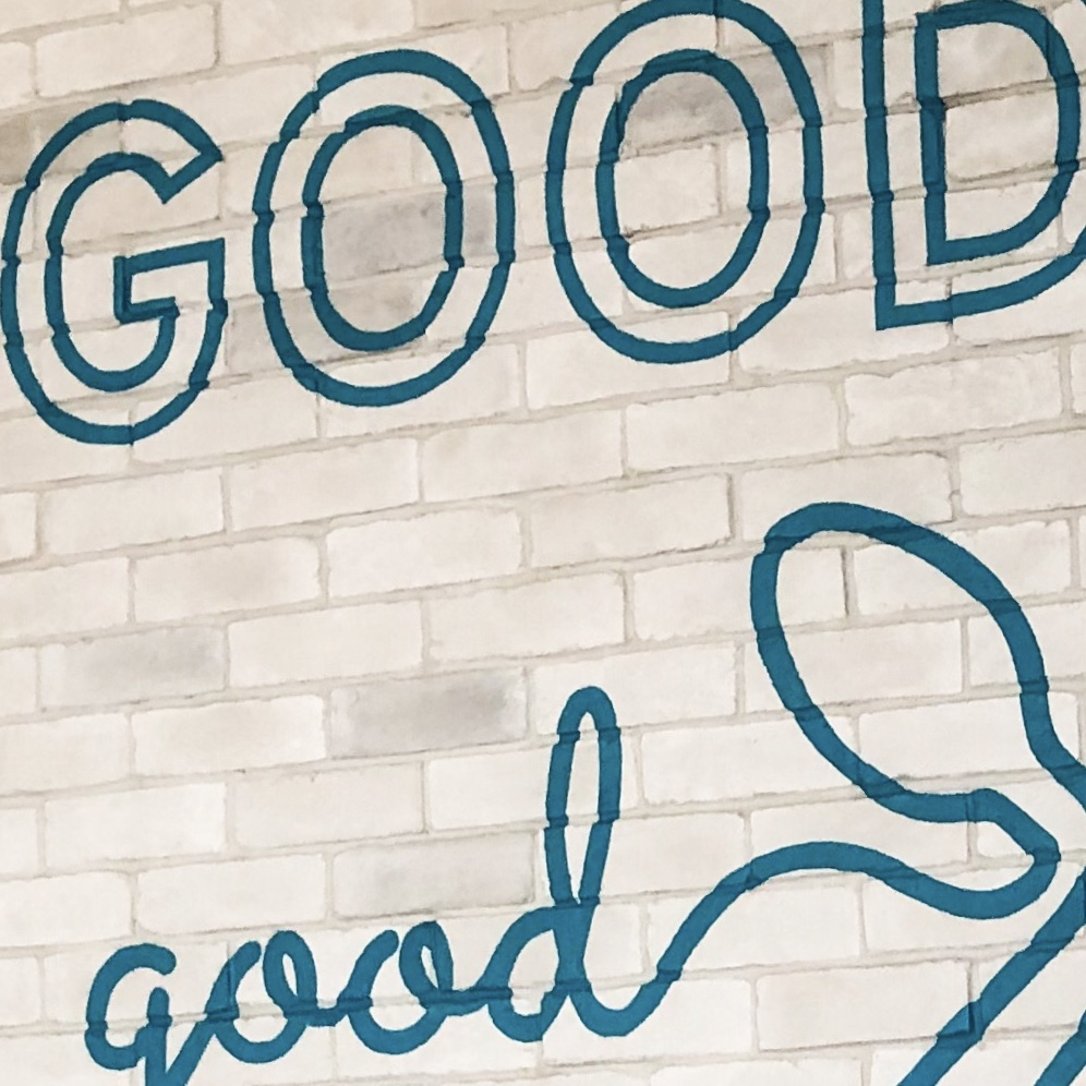hand painted restaurant branding - brick wall graphic lettering in San Diego completion photo detail