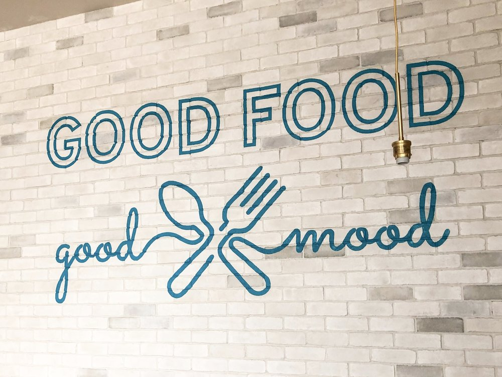 Hand painted wall graphics at Luna Grill in San Diego