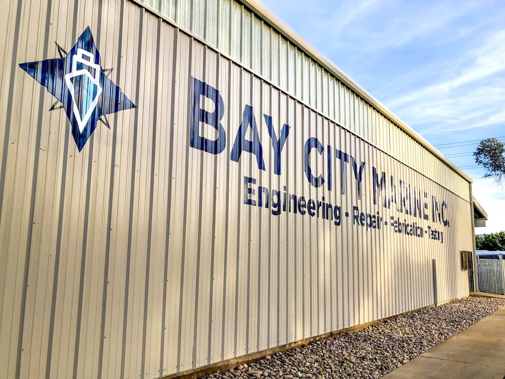 Bay City Marine hand painted sign mural San Diego area