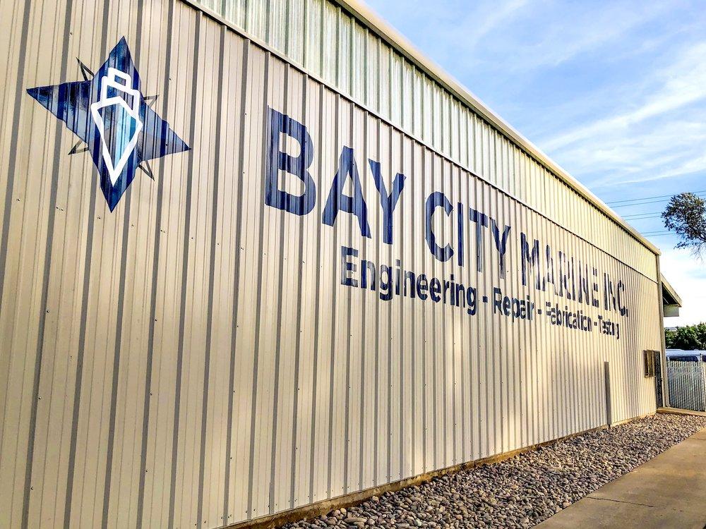 Bay City Marine hand painted sign San Diego area